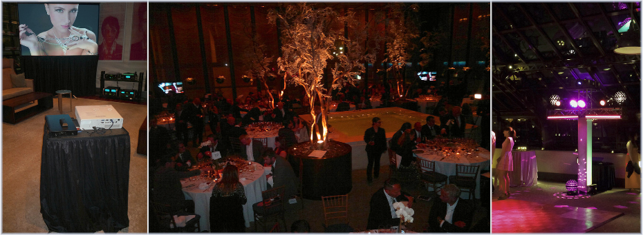 We offer stage lighting and sound, stage set rentals, all events staging, corporate audio visual services.